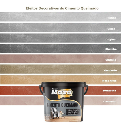 Cimento Queimado Maza Diversas Cores 5,6kg Premium