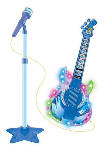 Guitarra Infantil Com Microfone Cabo E Pedestal Luz E Som