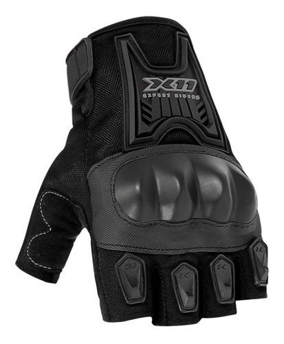 Luva X11 Blackout Meio Dedo Masculina Preta Motociclista