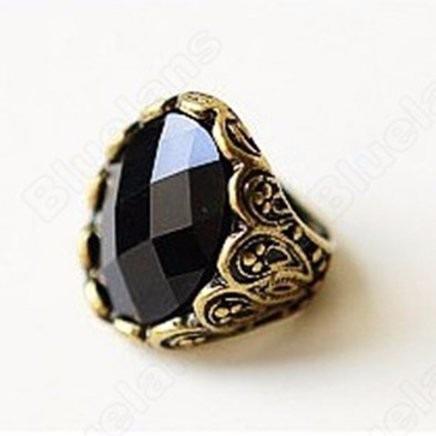 Anel Pedra Preta Bijuteria -