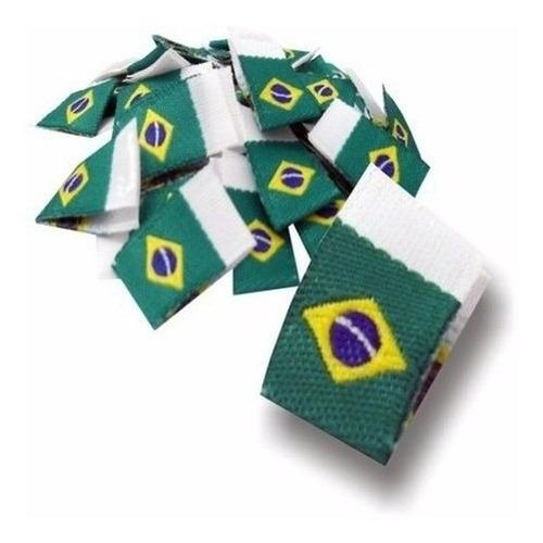 Etiqueta De Bandeira Do Brasil Tecido - Pacote Com 100 Unid.