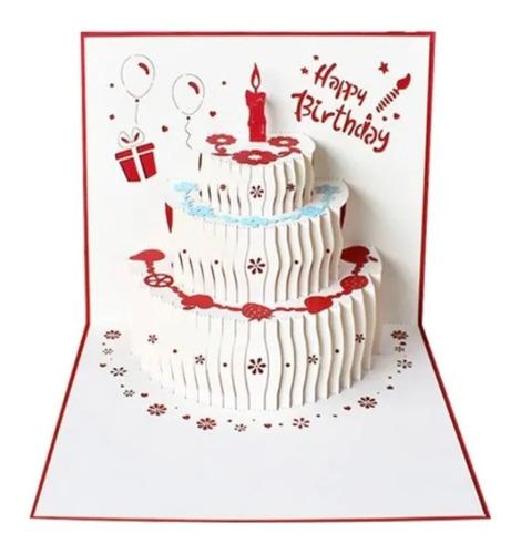 Cartão De Aniversário Presente 3d Bolo Luxo Amizade Amor