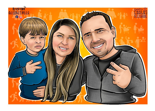 Caricaturas Personalizadas, Família, Casal, Natal