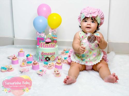 Fantasia Confeitaria Bebê Infantil Doceria Mesversário Doces