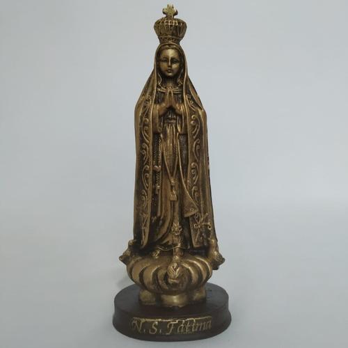 Imagem Nossa Senhora De Fátima. 15cm. Cor Dourado. Resina