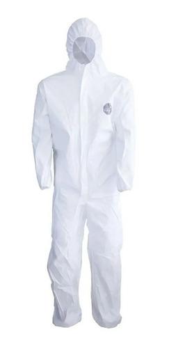 Macacão De Segurança Branco Com Capuz Proteção Química