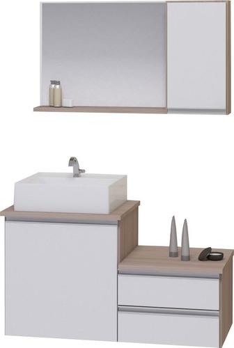 Kit Gabinete Banheiro - Armário+cuba+espelheira Cross 80cm