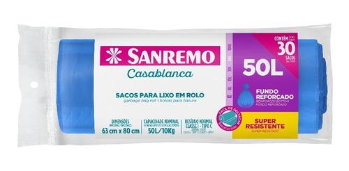 Saco De Lixo Reforçado Azul Sanremo 50 Litros Com 30 Un.