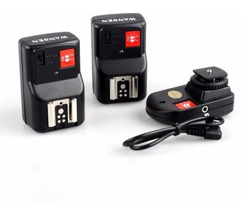 Kit Radio Flash Wansen Pt-04 C/ 1 Transmissor + 2 Receptores