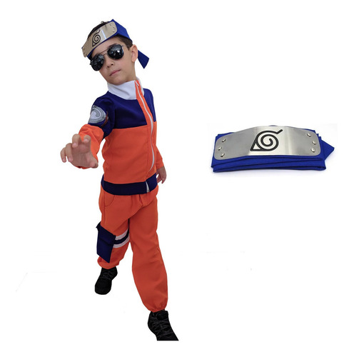 Fantasia Naruto Uzumaki Cosplay Infantil + Bandana Naruto