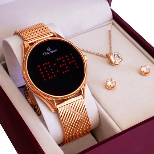 Relógio Champion Feminino Rosê Digital Led Vermelho Ch40106z