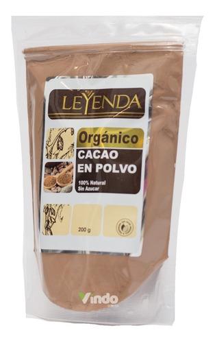 Cacao En Polvo Organico Leyenda 100% Natu - g a $84