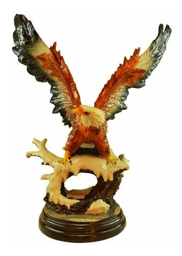 Águia  Estátua Com Base Resina Poder Força Escultura 45cm