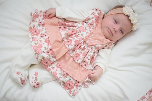 Saída Maternidade Menina Anny 5 Peças Salmão