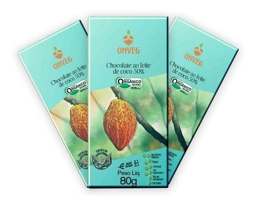 3 Un. Chocolate Vegano Orgânico Leite De Coco 50% 80g Onveg
