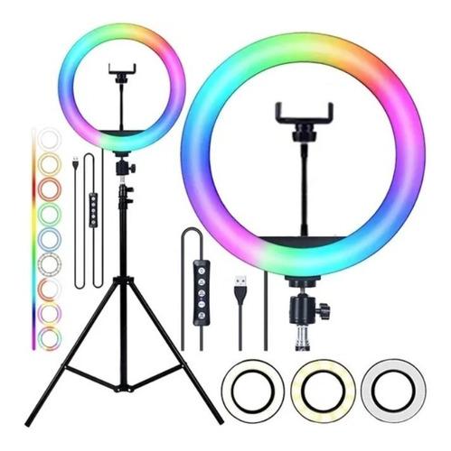 Ring Light Luz Rgb Colorida 26cm 10 Polegadas + Tripé 2.10m