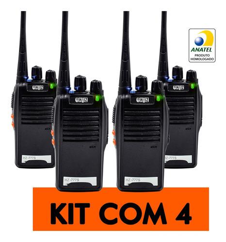 Kit 4 Radio Vhf/uhf Walk Talk 16 Canais Comunicador Bf-777s