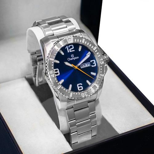 Relógio Champion Masculino Aço Prata Azul Original Garantia