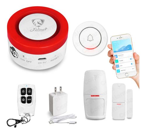 Kit Alarma Wifi Sirena Sensores Cel Alexa Google Tuya Seguridad Casa Inteligente Control Total Y Monitoreo Via Celular