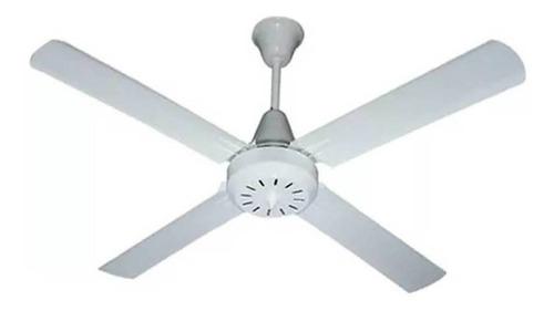 Ventilador De Techo Exahome 601 Blanco Con 4 Palas De  Metal, 120cm De Diámetro 220v