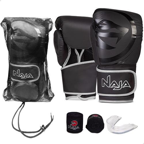 Kit Boxe Muay Thai Naja Black Line - Luva + Bandagem + Bucal