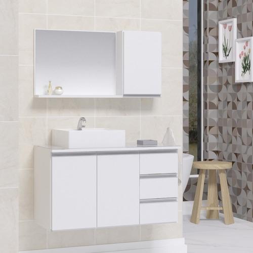 Conjunto Gabinete Banheiro Prisma 80cm Com Tampo Vidro