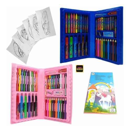Maleta Pintura Infantil Estojo Escola Criança 48 Pçs