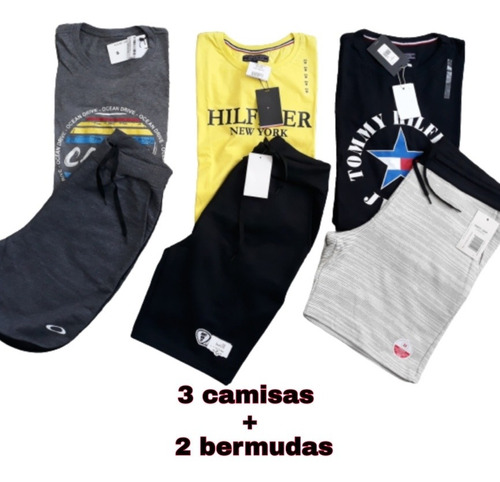Kit 3 Camisa Malha Peruana Fio 301. + 2 Bermuda Moletom