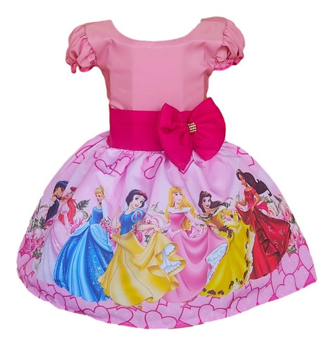 Vestido Princesas Disney Aniversario Infantil Festa Laço