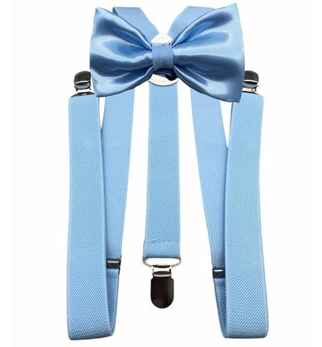 Gravata Borboleta Suspensorio Azul Serenity Noivo Padrinho