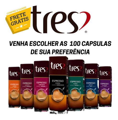 Kit Capsula Tres Corações 100 Unidades Escolha 10 Sabores