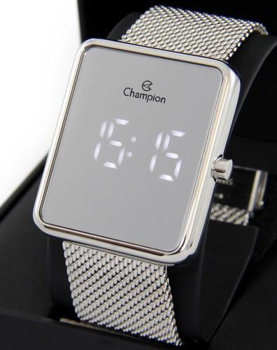 Relógio Champion Feminino Led Prata Espelhado Ch40080s