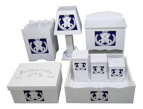 Kit Bebê Higiene Mdf Pintado Ursinho Coroa Tecido