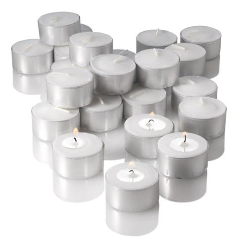 Saco Com 30 Velas Rechaud Brancas C/ Suporte Em Alumínio