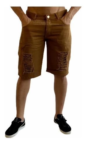Bermuda Short Jeans Preta Masculina Rasgada Lycra