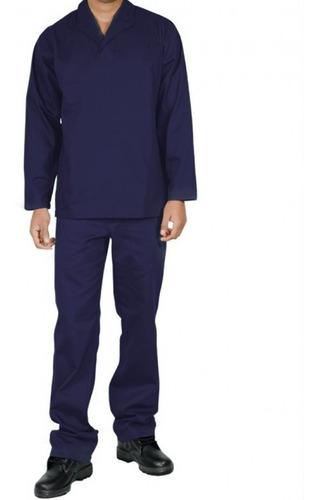 Uniforme Pedreiro Mecânico Brim Calça E Camisa Manga Longa
