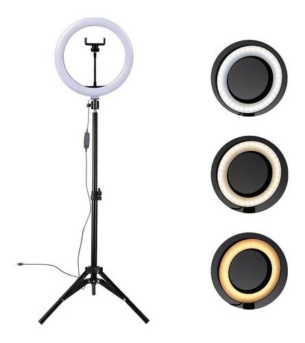 Ring Light Led Completo 26cm Iluminador Portátil Tripé 2,1m