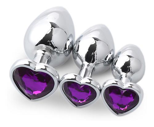 3 Pçs/set Coração Em Forma De Aço Inoxidável Anal Plug