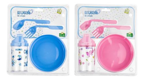Kit Pratinho Infantil Bebe Prato Com Ventosa Talheres E Copo