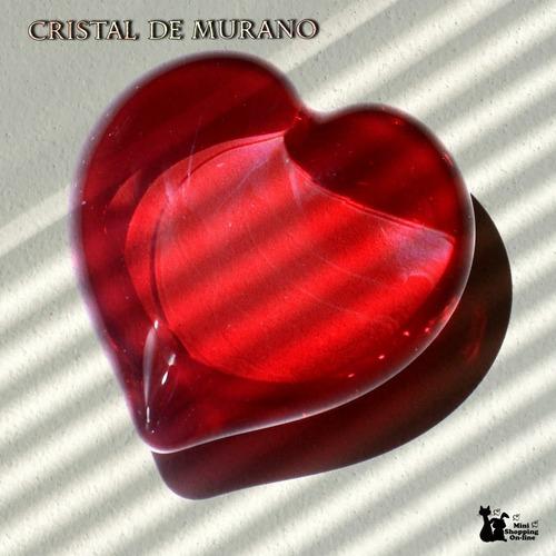 Coração Decorativo Cristal De Murano Legítimo Maciço 8x8x4