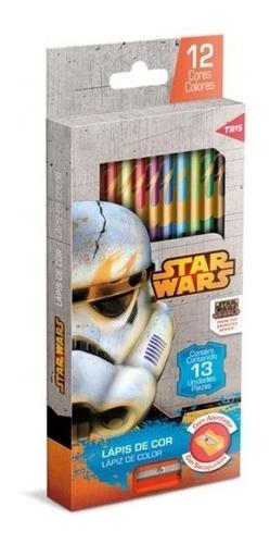 Lápis De Cor 13 Cores Com Apontador Star Wars - Tris