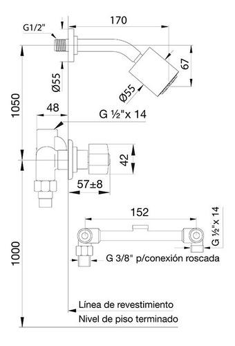 Fv 109/b1p Griferia Arizona 2 Llaves Con Ducha