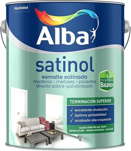 Satinol Al Agua. Esmalte Satinado Alba Negro X 1 Lt