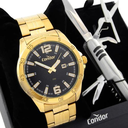 Relógio Condor Masculino Dourado Co2115kuq/k4b + Brinde