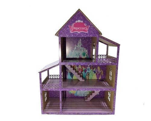 Casinha De Boneca Adesivada Princesa + Kit De Mini Móveis