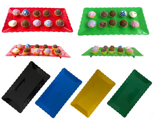 Bandeja Plástico 30x15cm - Prato - 4 Unidades