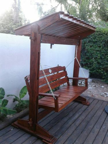Hamaca Para Jardín O Barbacoa En Madera Rústico Con Techo