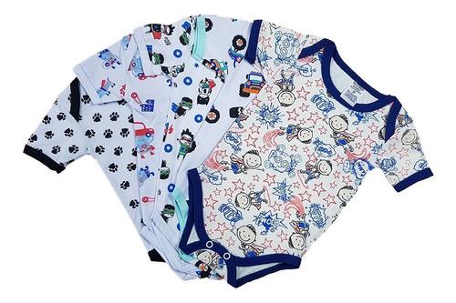 Body Manga Curta Bebê Roupa De Bebê Estampado Kit C/3 Peças