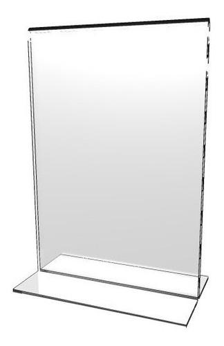 Hablador En Acrílico Tipo T Porta Menú Tamaño Media Carta