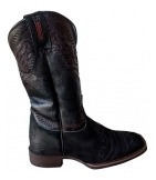 Bota Texana Durango Feminina Bico Quadrado Preto Com Detalhe